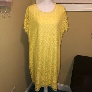 Isaac Mizrahi Live! Stretch Lace Dress Yellow XL